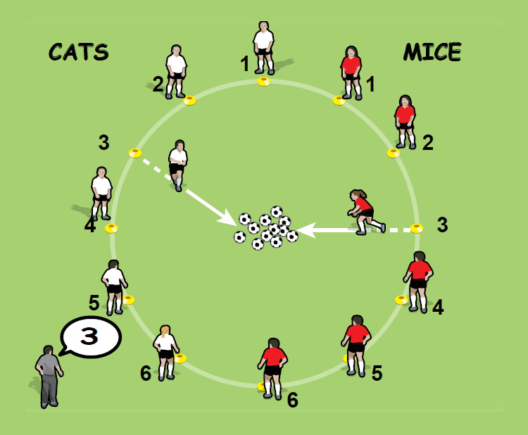 Cat and Mouse soccer drill for 5 to 8 year olds - part 1