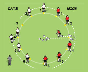 Cat and Mouse soccer drill for 5 to 8 year olds - part 3