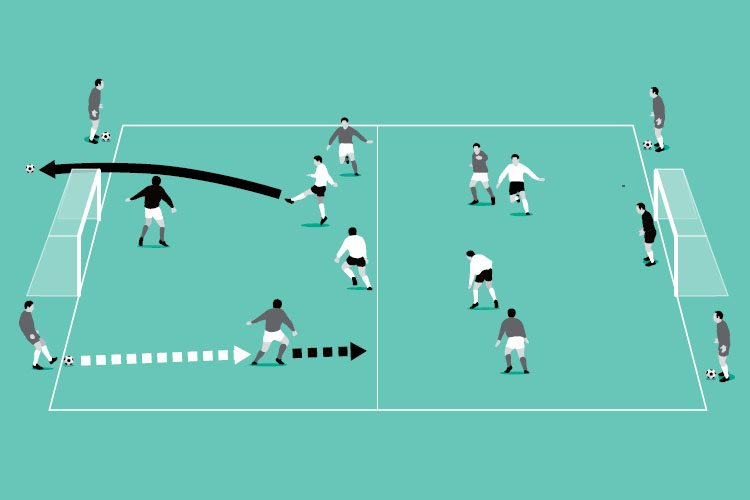 In a 4v4, play continuously with ball boys restarting play as soon as the ball goes out.