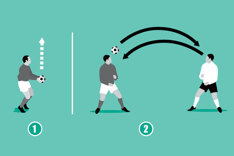 Head directly from another header to practice compensating for the pace of the incoming ball.