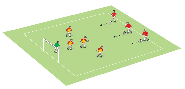 U8 pressing the player with the ball game - part 1